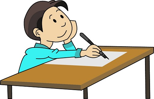 Composition writing . Writer clipart quietly