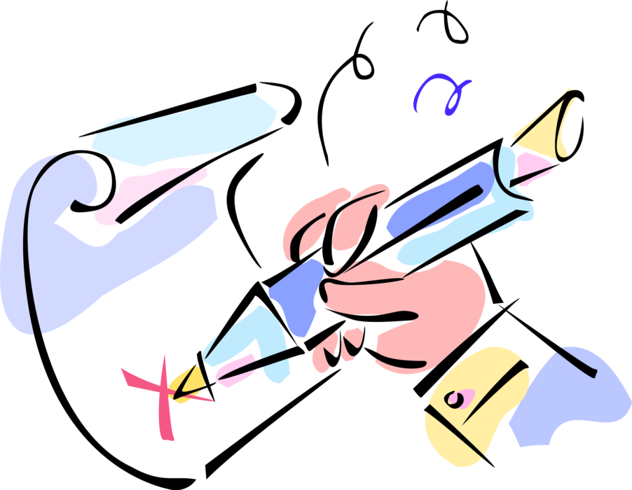 Clipart writing signature hand. Signs contract with pen