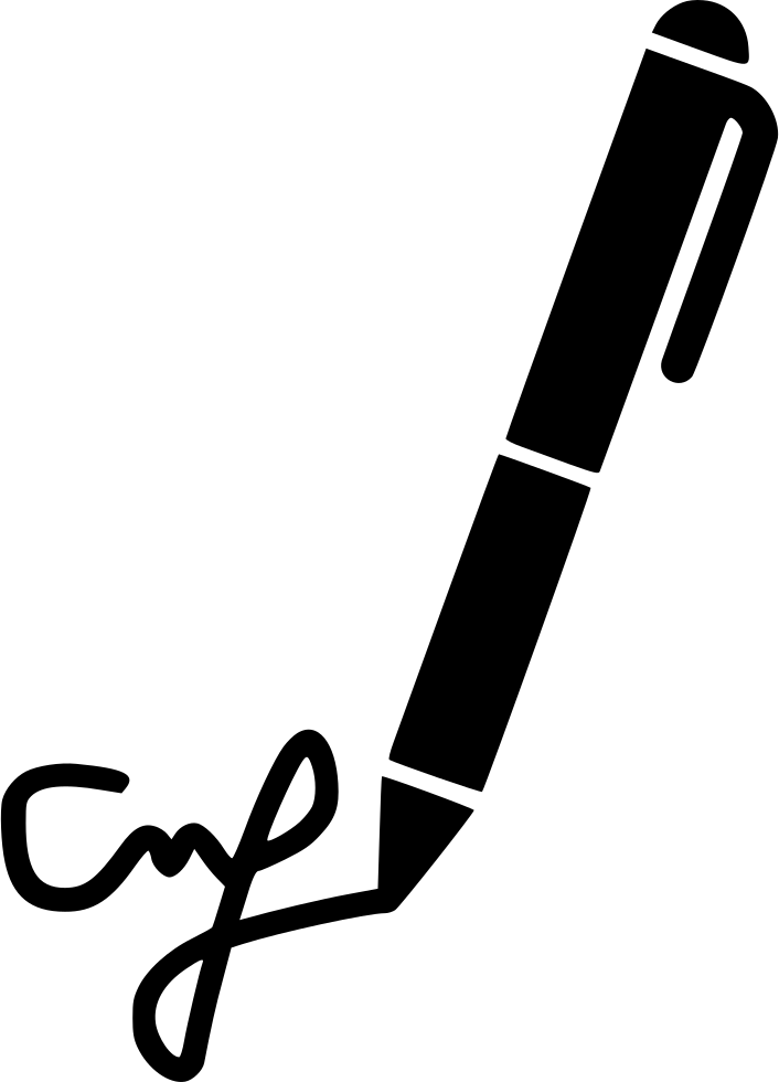 Contract write agreement subscribe. Clipart writing signature hand