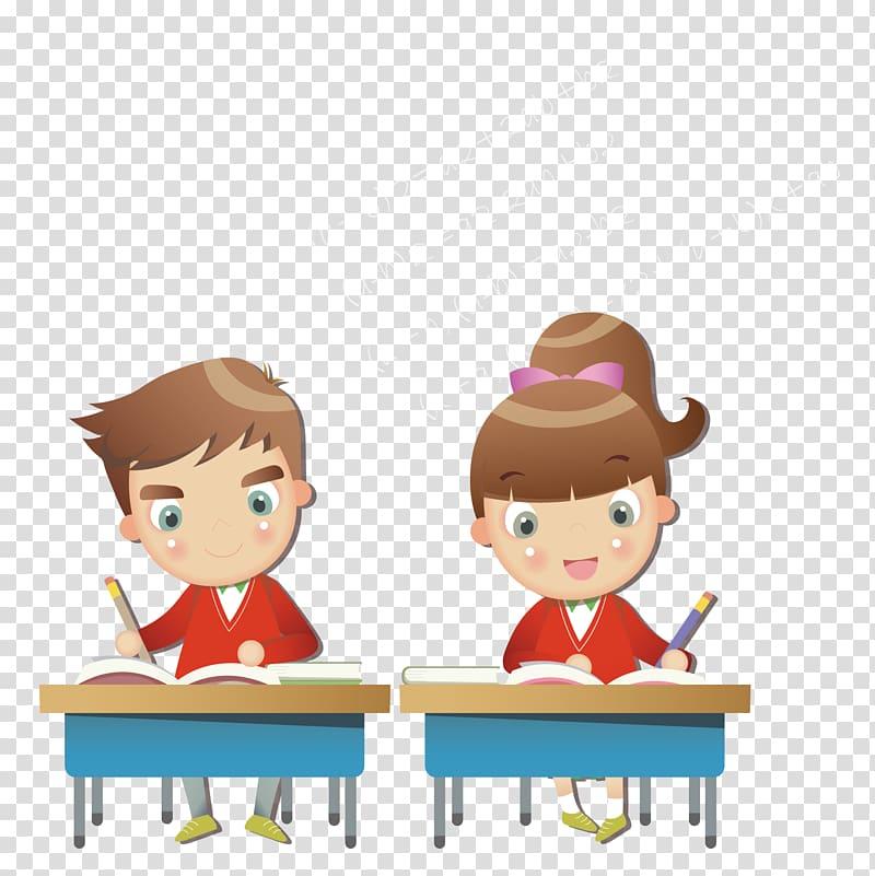 Boy and girl writing. Writer clipart written examination