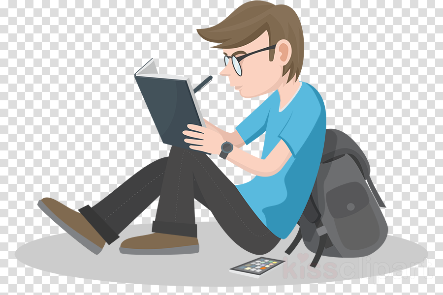 Study clipart writing. Cartoon reading student
