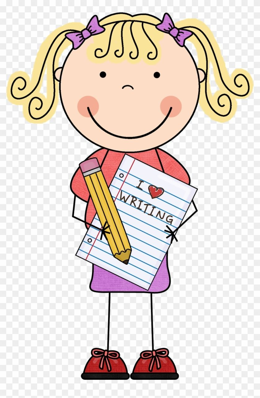 Girl writing reading and. Writer clipart happy