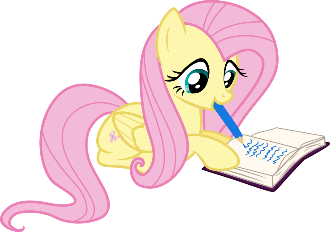 Clipart writing writing journal. Fluttershy in by xxphantomxxx