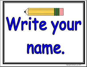 Name clipart writing name. Large sign write your
