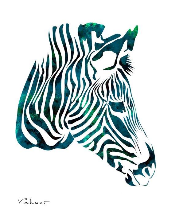 Clipart zebra blue zebra. Art teal print illustration