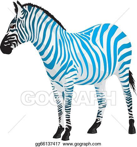 Clipart zebra blue zebra. Eps vector with strips