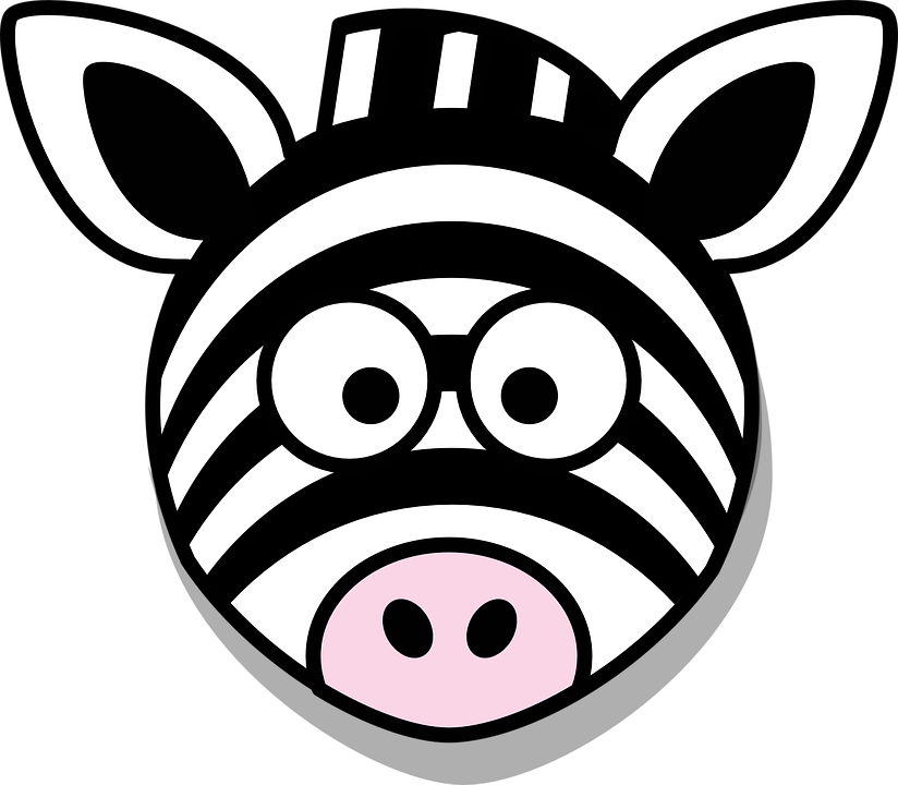 Clipart zebra cartoon female. Black and white collection