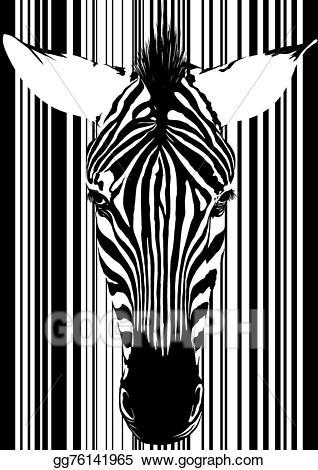 Vector barcode face illustration. Clipart zebra front