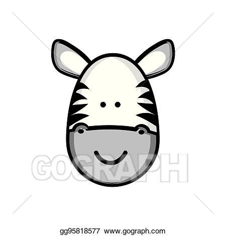 Clipart zebra zebra face. Vector colorful picture cute