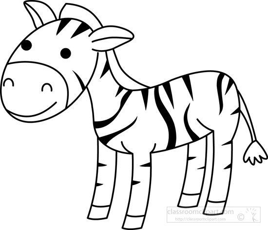Clipart zebra zebra outline. Animals black white classroom
