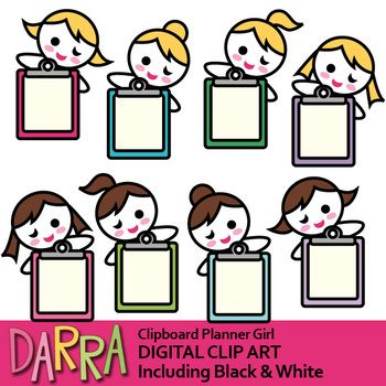 Girl with clip art. Clipboard clipart brown