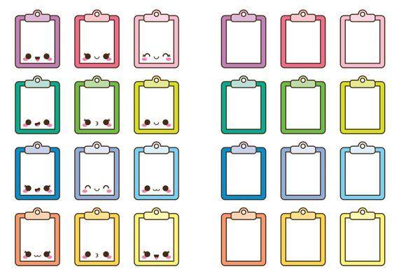 Kawaii clip art . Clipboard clipart cute