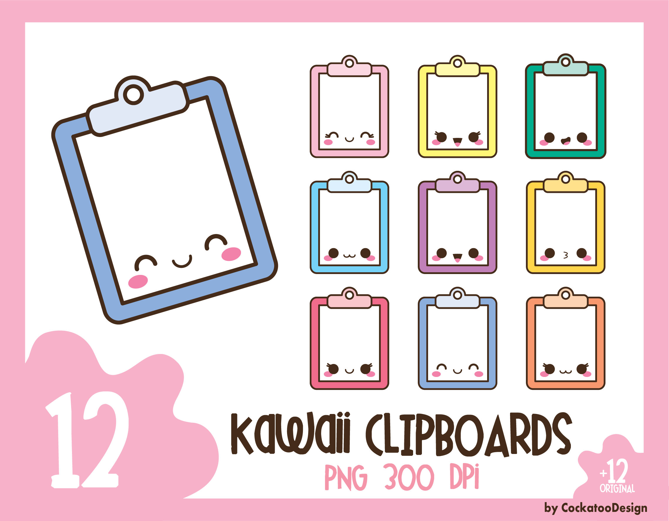 Clipboard clipart cute. Kawaii clip art planner
