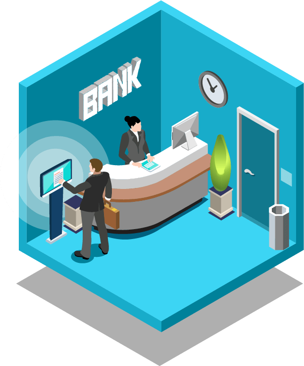 Kiosk technology industry use. Financial clipart digital banking