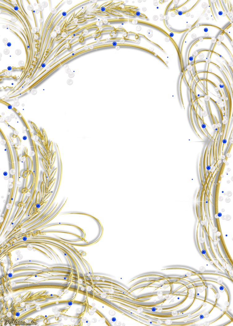 Golden frame with gems. Pearls clipart divider