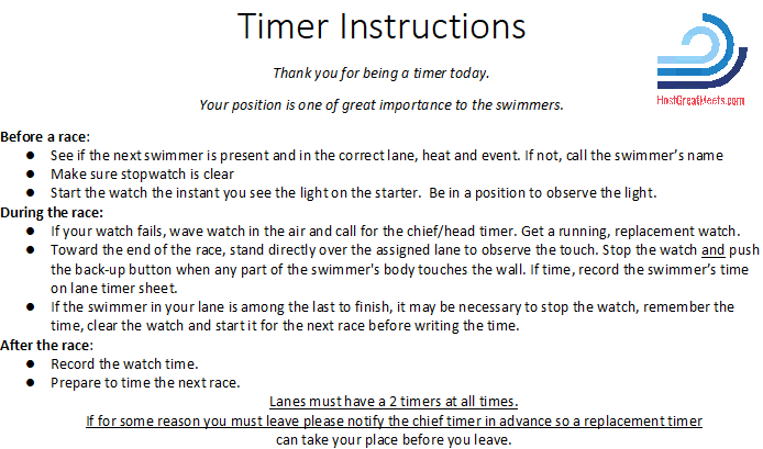 Timer instructions a swim. Clipboard clipart instruction