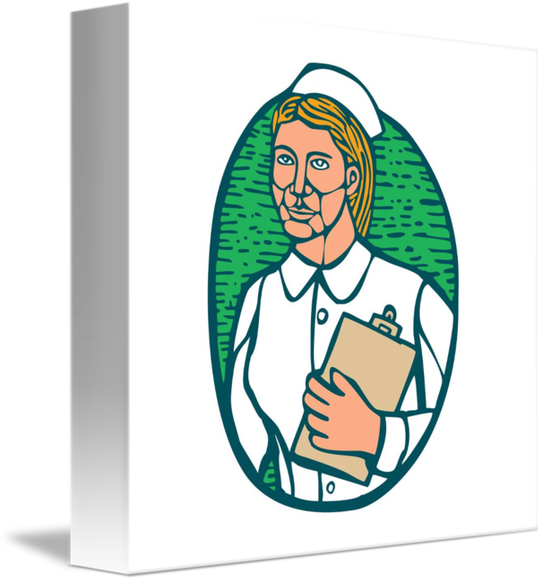 Nurse holding oval woodcut. Clipboard clipart nursing clipboard