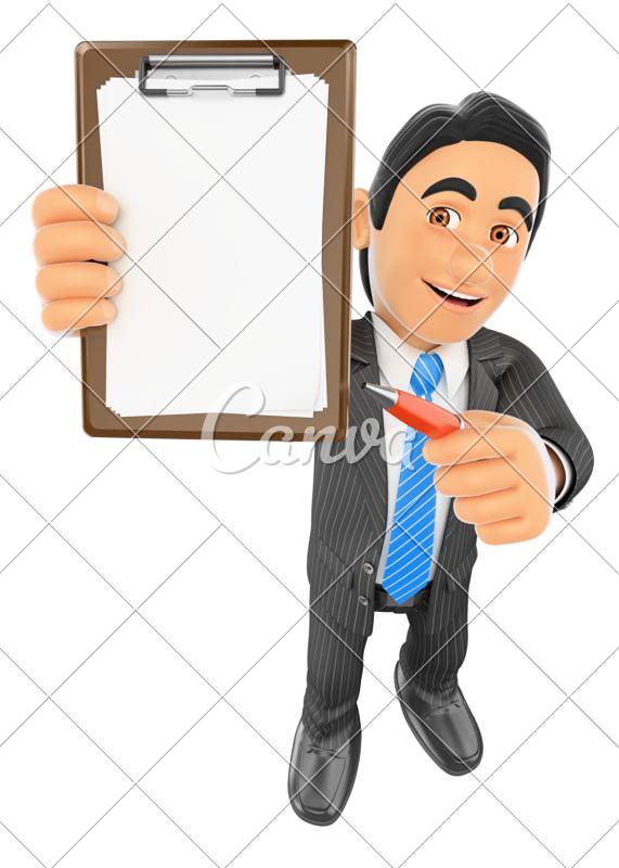 Clipboard clipart pen.  d businessman with