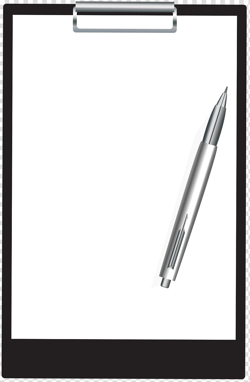 Clipboard clipart pen. Gray on black and