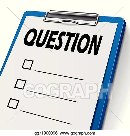 Clipboard clipart question paper. Vector art drawing gg