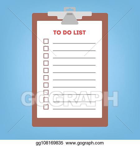 Vector illustration long list. Clipboard clipart to do