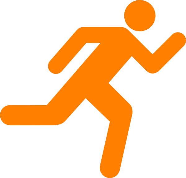 Clipboard clipart transparent background. Orange running icon on