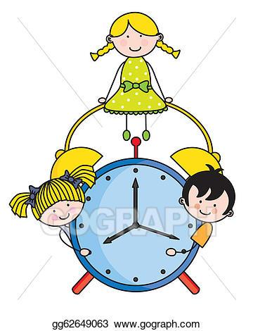Clock clipart childrens. Vector art children with