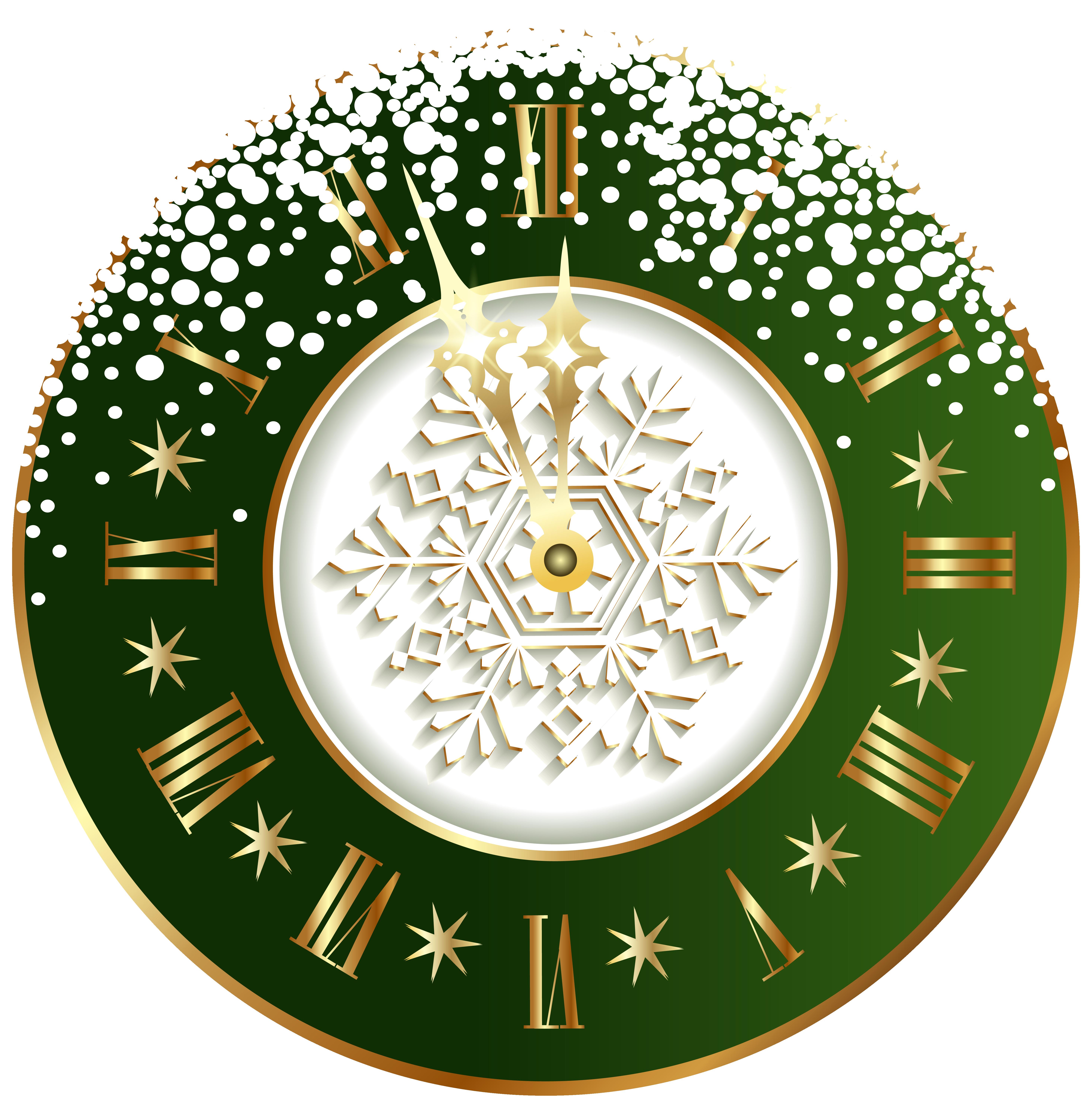 Green new year clock. Clocks clipart christmas