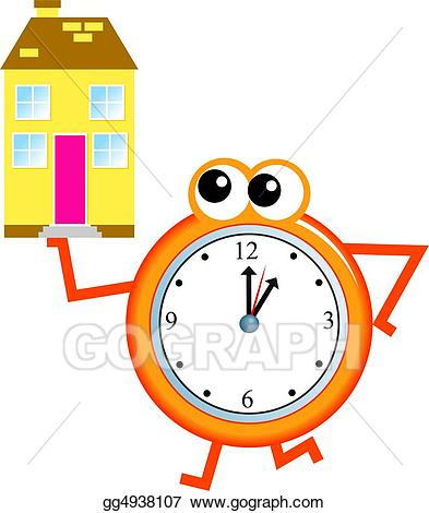Stock illustration home time. Clock clipart house