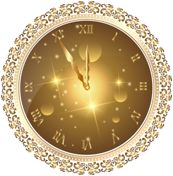 Clock clipart house. Gold new year s