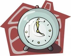 An alarm and a. Clock clipart house