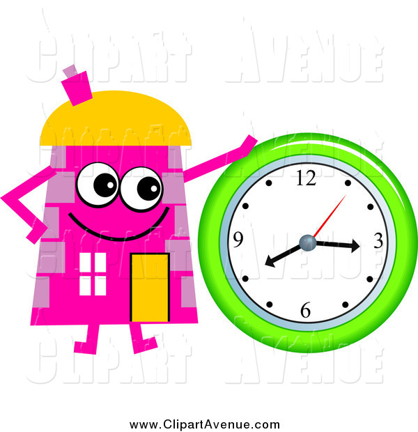 Clock clipart house. Avenue of a pink