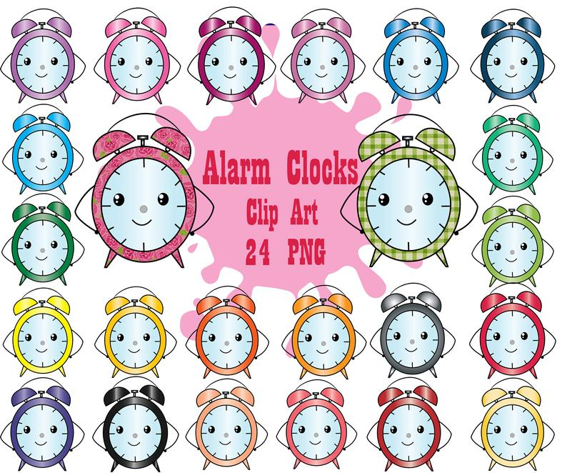 Clock clipart kawaii. Alarm clocks clip art