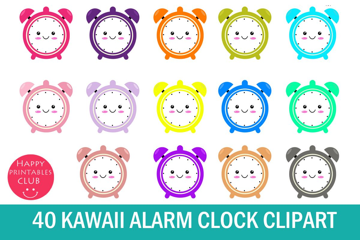 alarm cute. Clock clipart kawaii