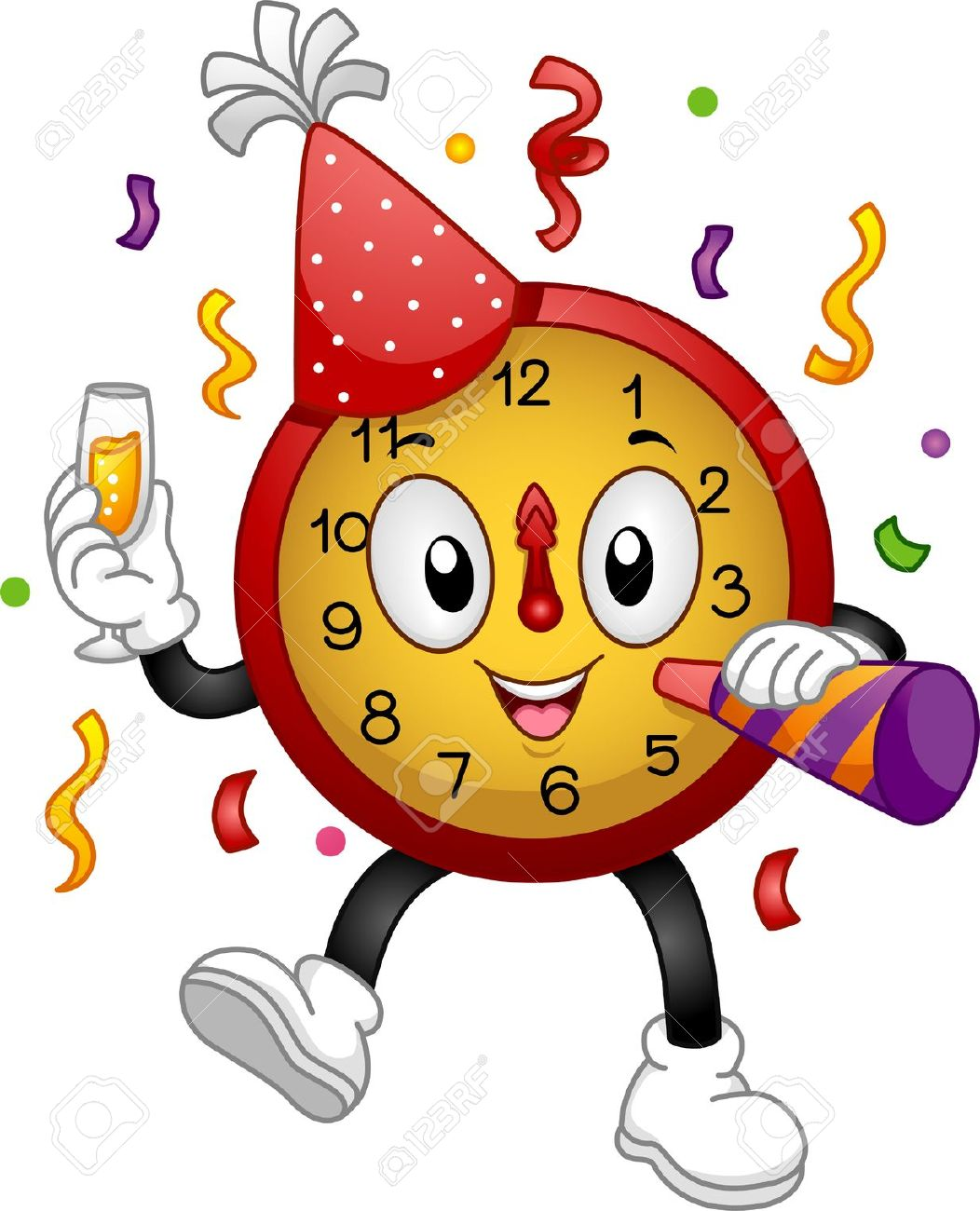 New years eve party. Clock clipart nye
