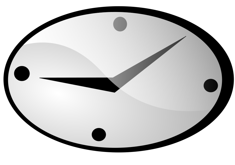 Pencil and in color. Clock clipart oval