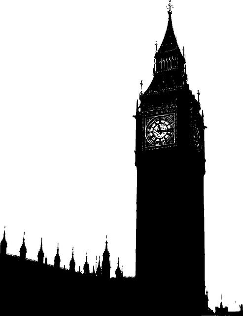 Building tower black outline. London clipart theme london