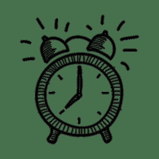 Hand drawn alarm icon. Clock vector png