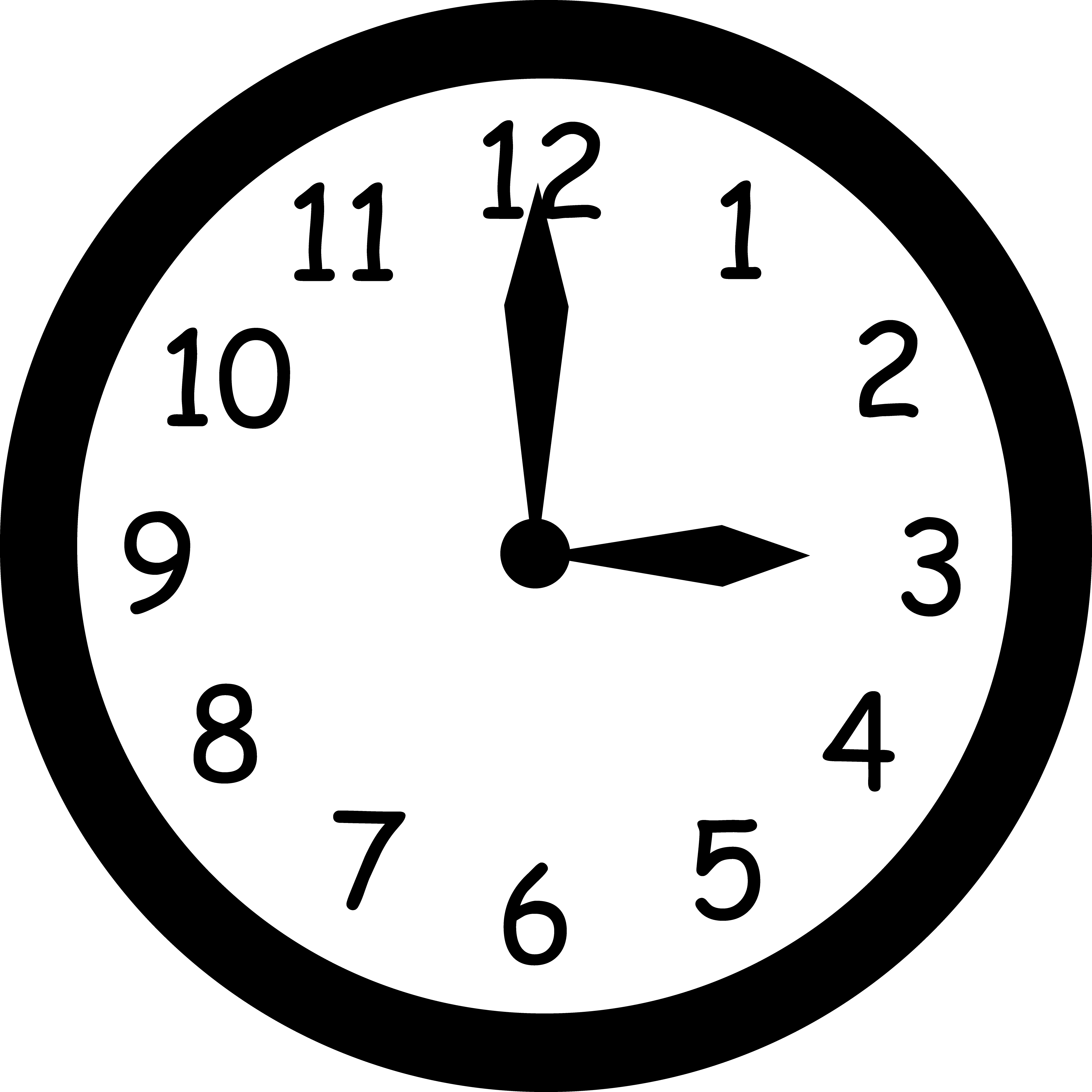 Free photos clock reading. Number 1 clipart black and white