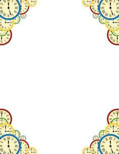 best cute simple. Clocks clipart borders