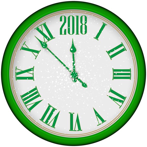 new year green. Clocks clipart calendar