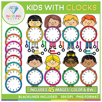 Clocks clipart kid png. Kids with clip art