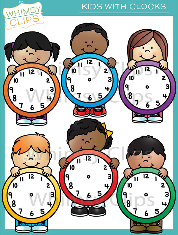 Kids with clip art. Clocks clipart kid png
