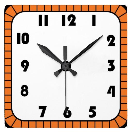 Black and white clip. Square clipart brown clock