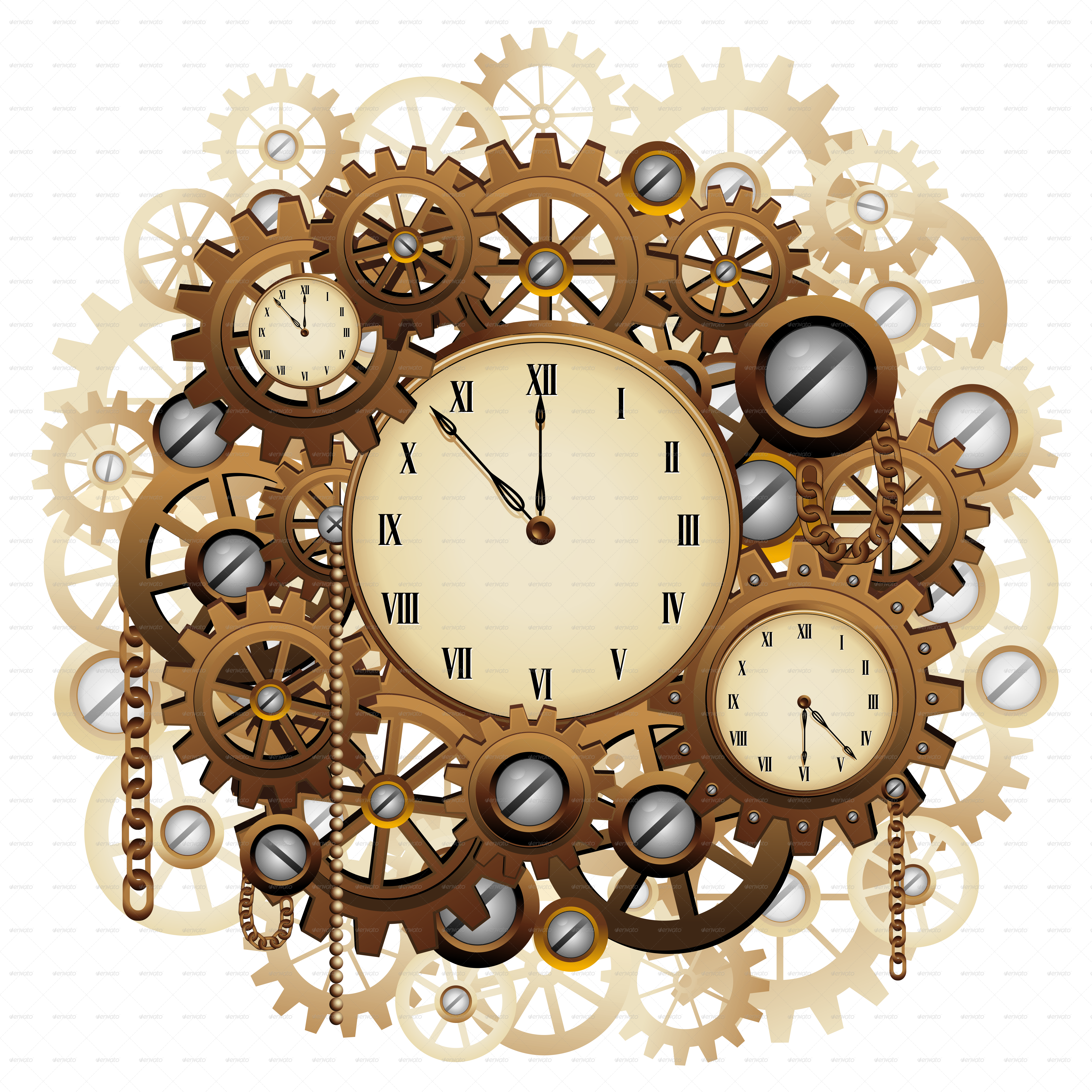 Steampunk clipart retro clock. Style clocks and gears