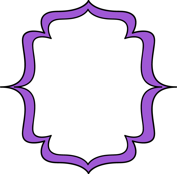 Double bracket frame labels. Filigree clipart purple