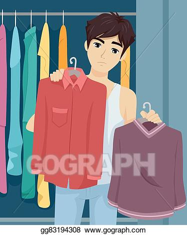Vector illustration teen guy. Closet clipart boys