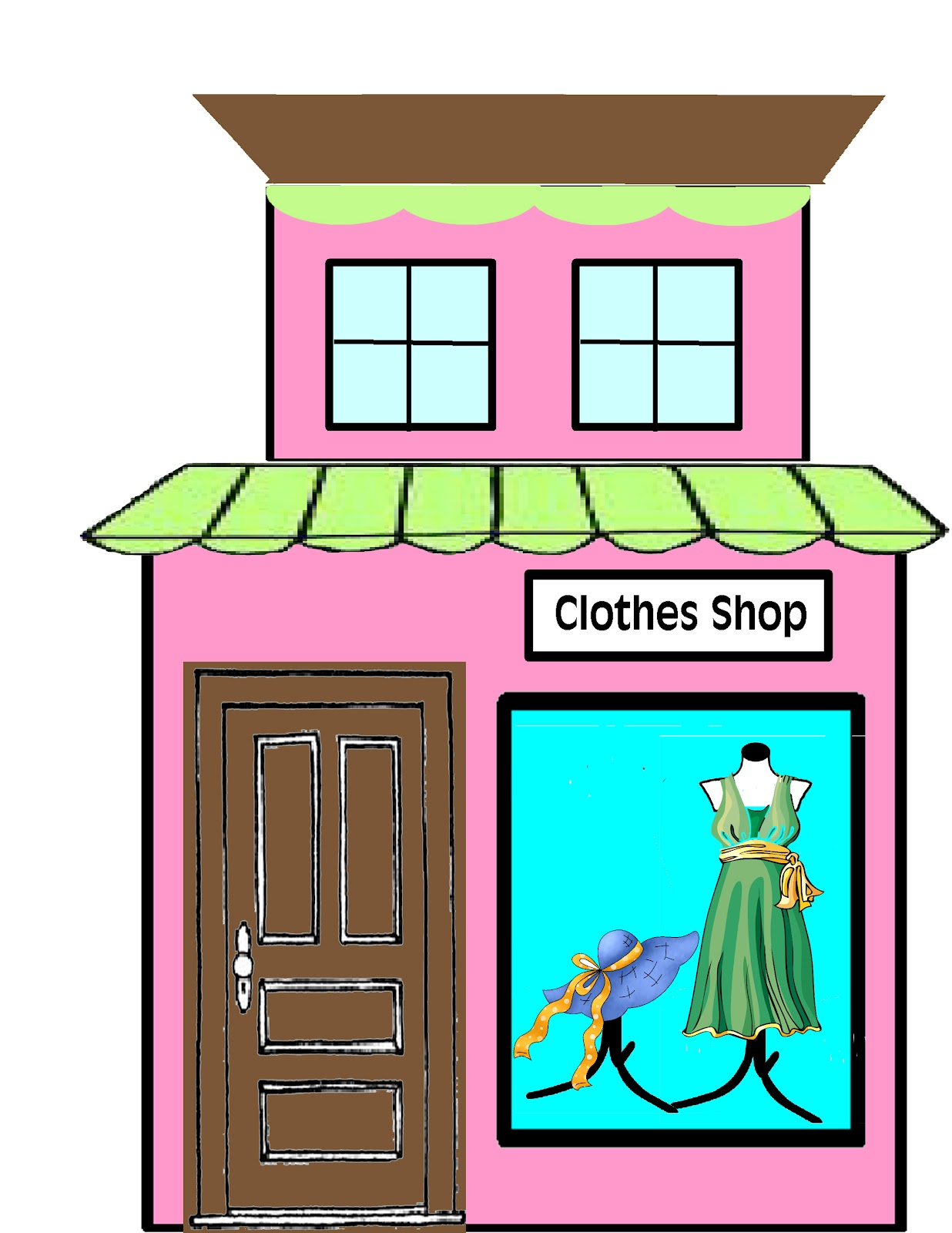 Grocery clipart village shop. Get clothes in closet