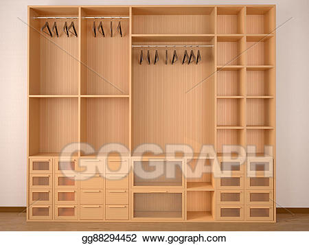 Stock illustration wooden wardrobe. Closet clipart empty closet