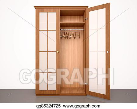 D illustration of the. Closet clipart empty closet